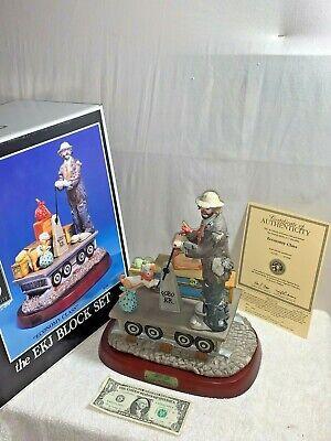 Emmett Kelly Jr Economy Class EKJ Block Set Hand-painted Porcelain Figurine