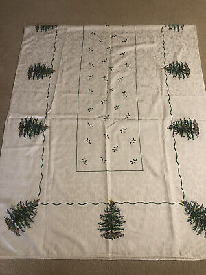SPODE Christmas Tree Ivory Damask 68 x 140 Holiday Tablecloth