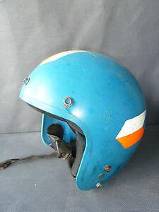 ancien casque de moto bol mobylette vintage bleu french antique old ebay. Black Bedroom Furniture Sets. Home Design Ideas