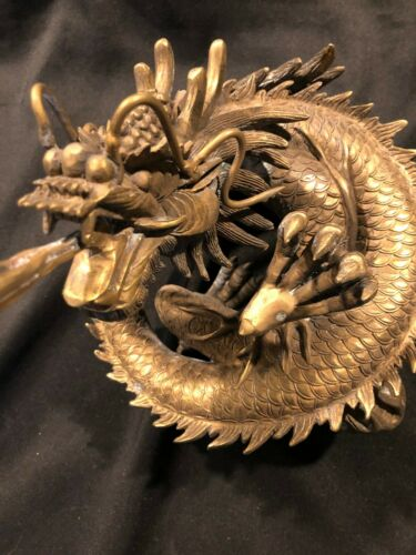 Vintage Large Heavy Elaborate Metal Asian Dragon Figure with Ball