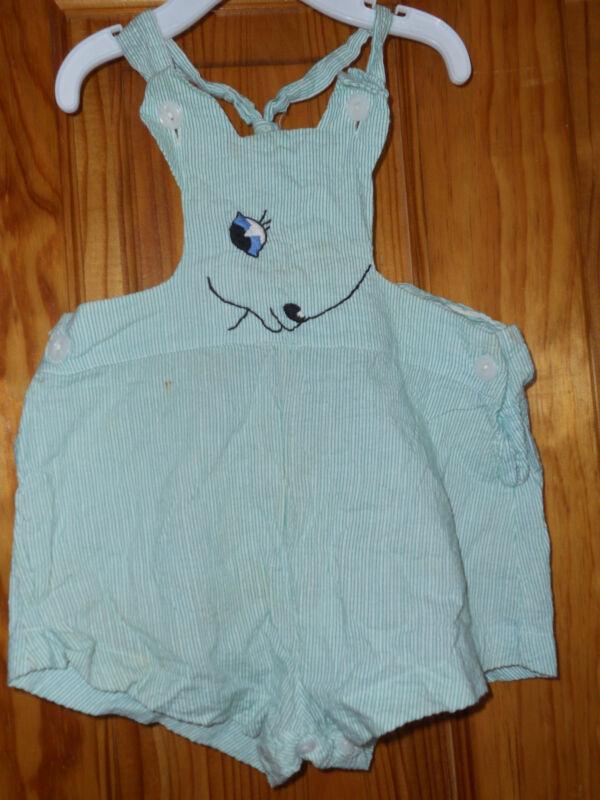 Vintage1950 toddler bib shorts lamb design embroidery green stripes shorts onsie