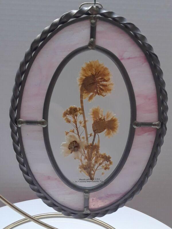 Vintage Lasting Impressions Handcrafted Pressed Flowers Sun Catcher Window Art