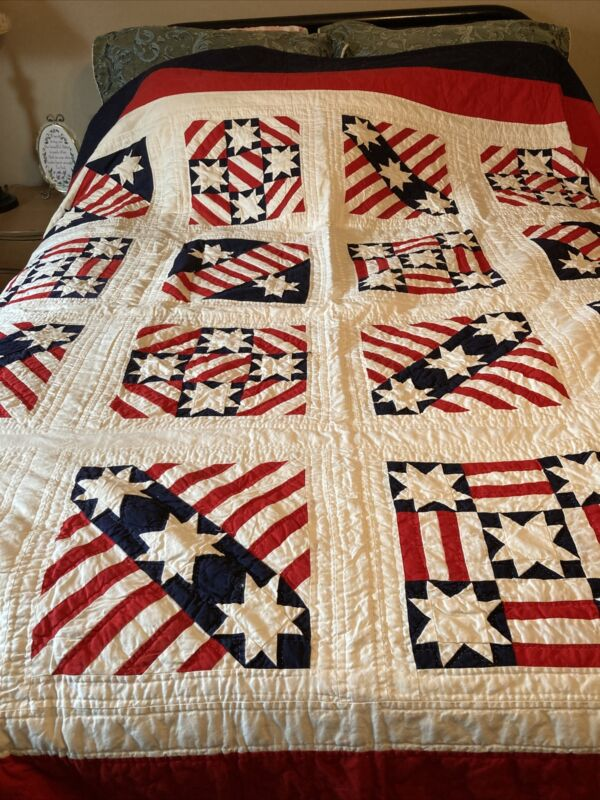 Handmade Quilt Large Patriotic Red,White And Blue 84x84!