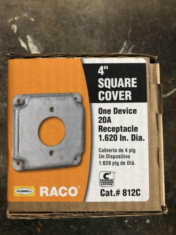Hubbell-raco 812c 4x4 Box Cover / One Hole Device (20a Recpt.), Twist Lock