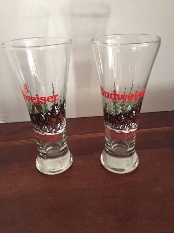 Vintage 1989 Budweiser Clydesdale King Of Beers Beer Glasses Set of 2