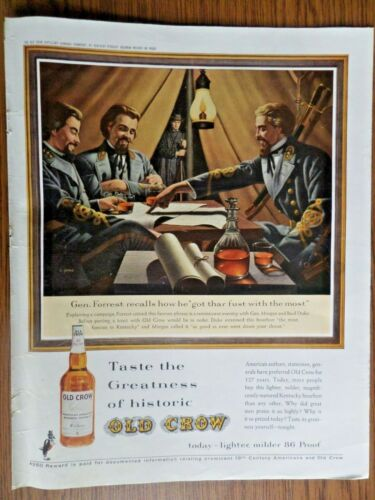 1962 Old Crow Whiskey Ad General Forrest Morgan Basil Duke
