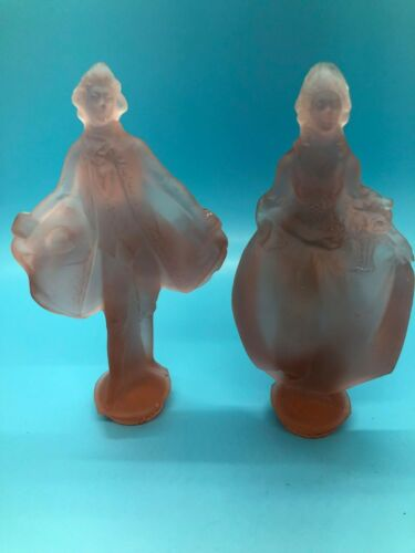 Antique Pink Satin Glass Figures Victorian woman and man