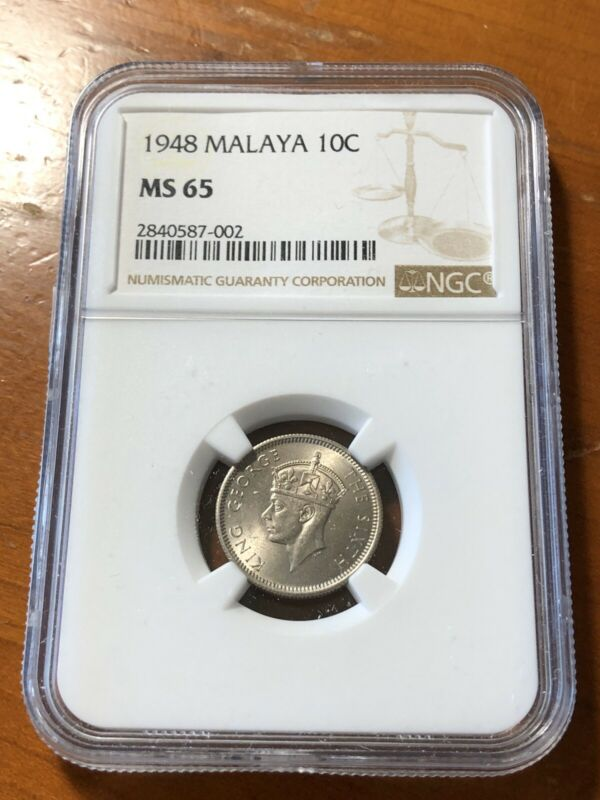 Malaya 1948 10 Cents - NGC MS65