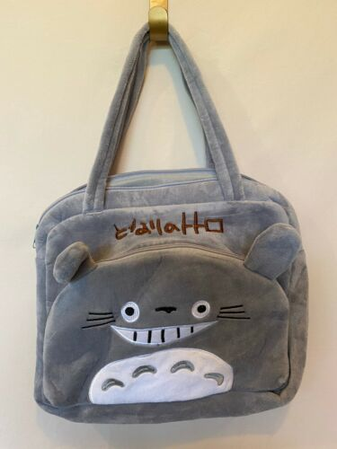 New! MY NEIGHBOR TOTORO Gray Plush Cosplay Anime Satchel Purse Shoulder Book Bag