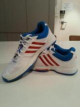 NEAR NEW Adidas Tennis Shoes Size MEN US 9, White with red stripe Eastwood Ryde Area Preview