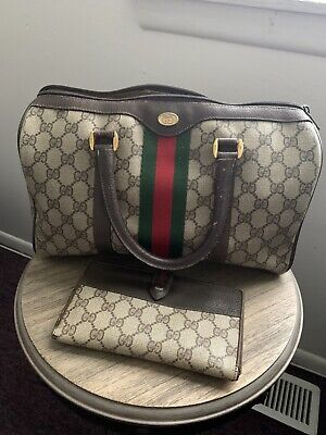 Vintage Gucci Ophidia Web Stripe Boston Brown GG Canvas Leather Hand Bag/wallet