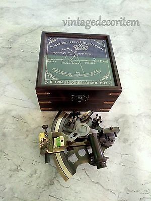 """Antique Nautical Maritime Brass sextant 4"""" with wooden box Vintage Collectible"""