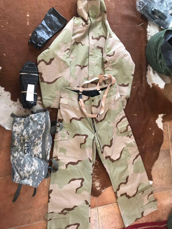 US MILITARY CHEMICAL PROTECTIVE SUIT JSLIST (pant/jacket) Boots/bag size:Large