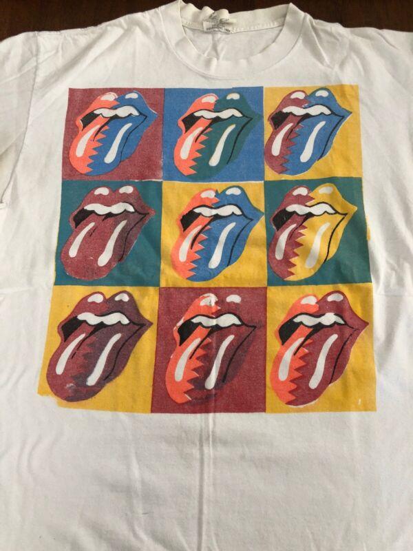 VTG Rolling Stones Steel Wheel Tour T Shirt 1989 Andy Warhol Guess Rock Original