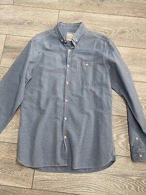 Burton M Blue Chambray Lightweight Denim Shirt Long Sleeve Blue Mark