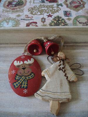 umschmuck Vintage Weihnachtsschmuck Holzengel Elch Blech (Elch Weihnachtsschmuck)
