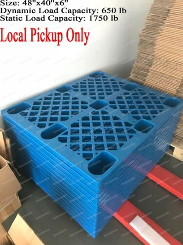 Used Blue Plastic Heavy Duty Shipping Freight Pallet, 48