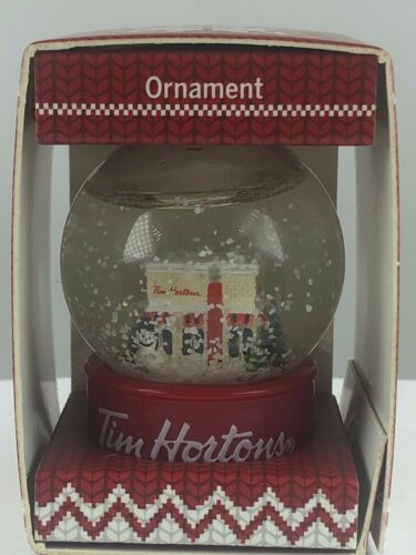 Tim Hortons 2015 Store Cafe Snow Globe Christmas Xmas Tree Ornament Free Ship