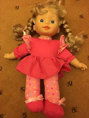 Pretty in pink Doll dolly with plaits and ribbons, L@@K!!!!