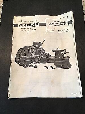 Atlas Craftsman 6 Metal Lathe No. 618 Instructions Parts Manual 1963