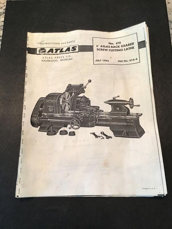 "ATLAS CRAFTSMAN 6"" Metal Lathe NO. 618 Instructions & Parts Manual 1963"