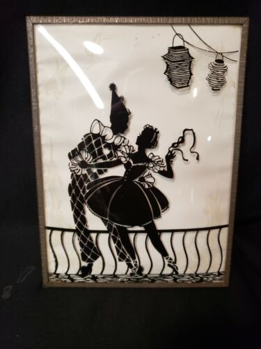 Vintage Reverse Silhouette On Glass
