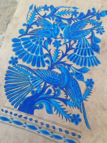 Authentic Mexican Art, Handmade Blue Birds Painting on Bark Paper or Amate