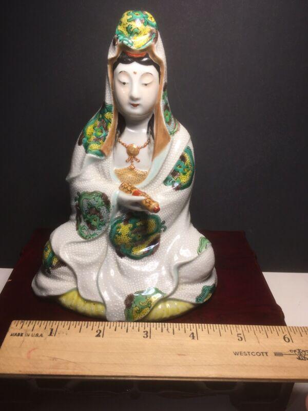 Antique Japanese Kwan Yin GUANYIN Ceramic Statue Figurine