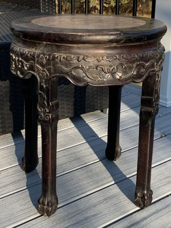 Antique Chinese Carved Rosewood Marble Top Plant Stand Table