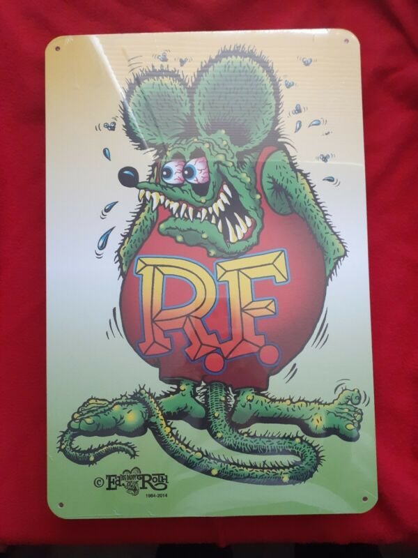 New Ed Big Daddy Roth Classic Green Rat Fink Metal Sign