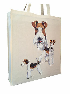 Wirehaired Fox Terrier Cotton Shopping Bag Tote with Gusset for Xtra Space