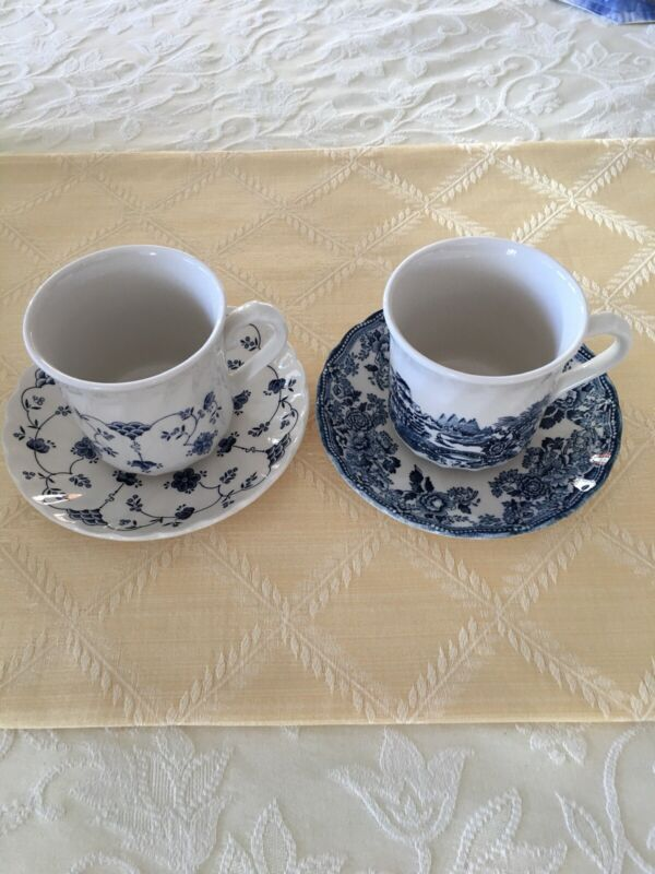 Churchill Tonguin Blue and Finlandia Cups and Saucers ,Made In England
