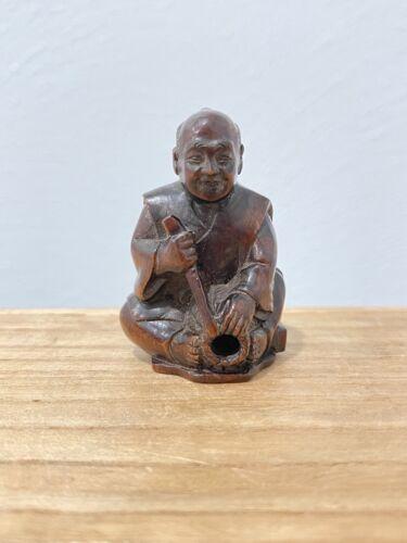 Vintage Possibly Antique Japanese Signed Wood Carved Netsuke Man with Basket