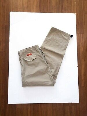 "Mens NAUTICA Competition Packable Nylon Khaki Windbreaker Pants Sz XL 30"" inseam"