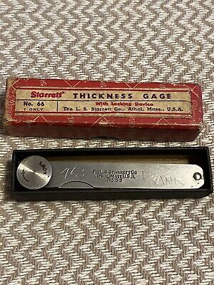 Vintage Starrett Thickness Gage No. 66 With Original Box