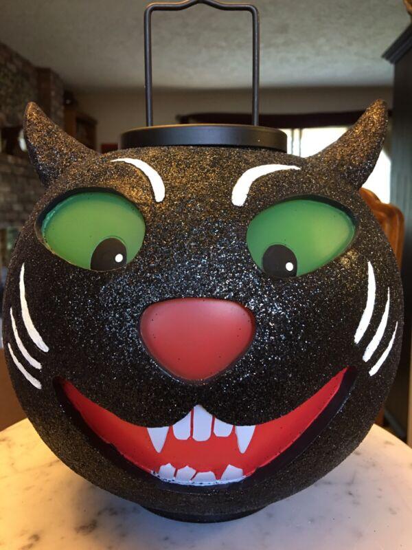 Illuminations Vintage Large Scary Cat Lantern Glitter Black Rare