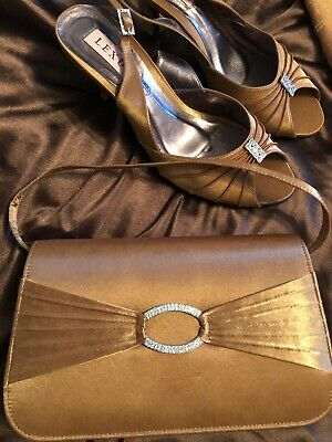 LOTUS BRONZE SHOES AND MATCHING BAG. Size 6 Worn For 1 Hour