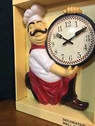 FAT CHEF KITCHEN WALL CLOCK EASY READ NUMBERS NEW