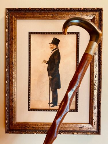 Opera Style Walking Stick, Curved Horn Handle, Beautiful Swirling Shaft.