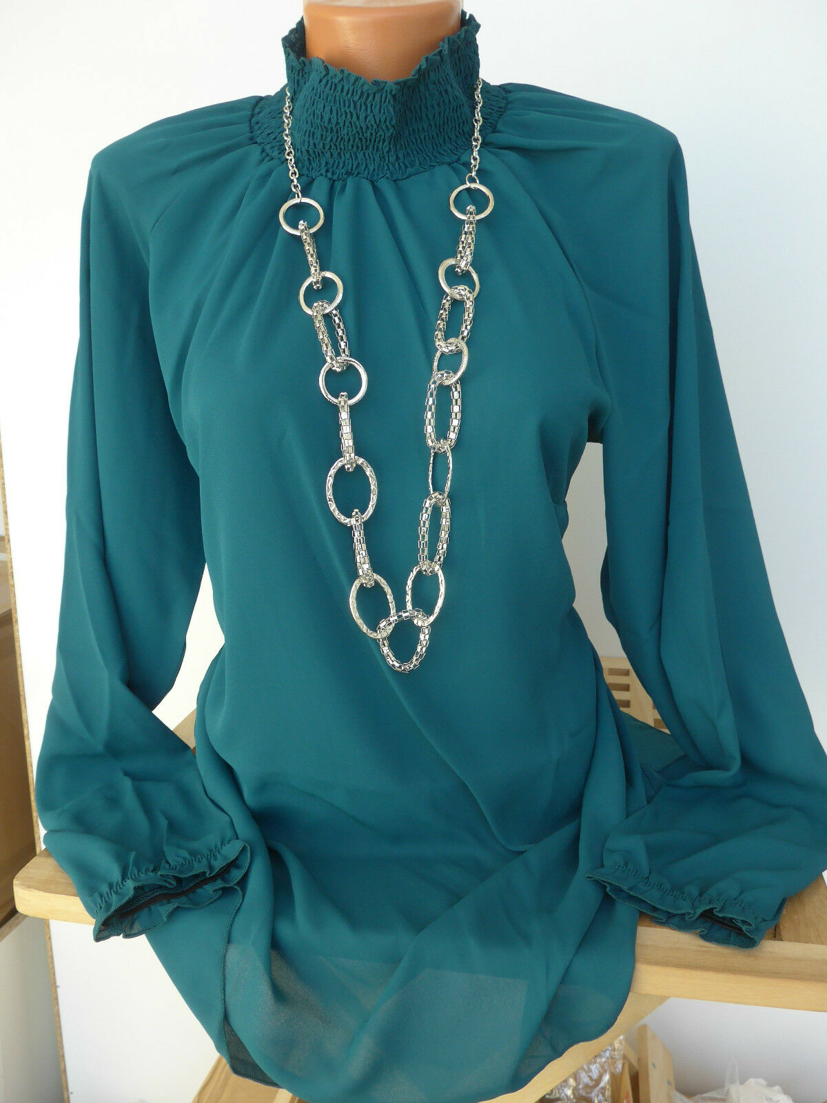 Sheego Tunika Bluse Shirt Gr. 40 - 52 mit hohem Kragen (874) Petrol NEU