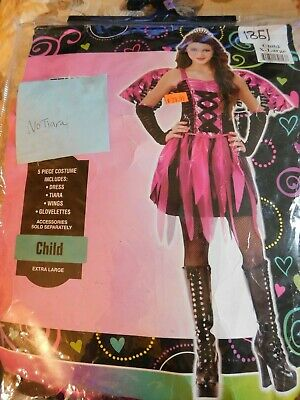 Feisty Fairy Child's 4 Piece Costume New Size Extra Large 14-16 Well Made