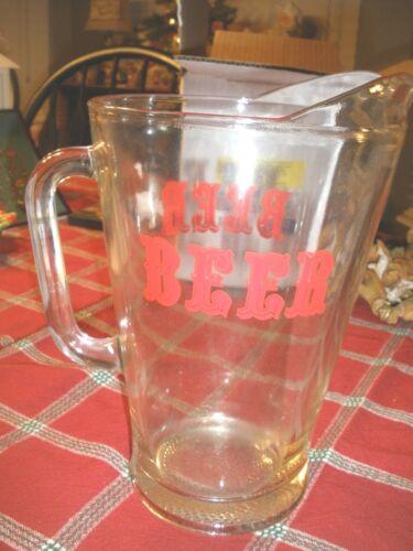 "Vintage ""Beer"" Heavy Glass Pitcher"