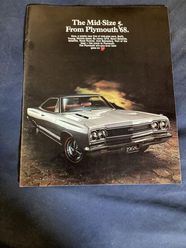 1968 Plymouth Road Runner GTX 426  Belvedere Color Brochure Catalog Prospekt