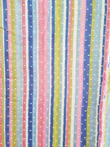 Vintage flocked fabric~Semi Sheer Flocked Dotted Swiss Fabric~Colorful Stripes