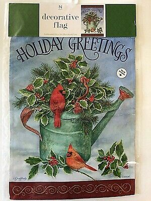 "Holiday Greetings Indoor Outdoor Garden flag 12"" x 18"" Holid"