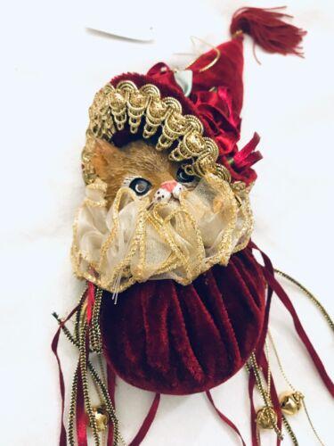 """Kitty Cat Christmas Ornament Velvet Victorian Ornament Ribbon 14"""""""