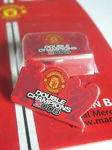 Man Utd 'DOUBLE CHAMPIONS 2008' Manchester United Football Badge Pin BRAND NEW