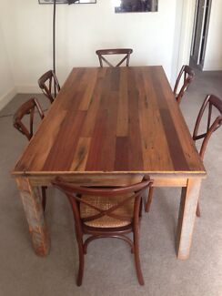 Large handcrafted dining table with 6 chairs Mosman Mosman Area Preview