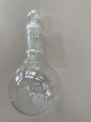 Pyrex Glass 200ml Flat Round Bottom Flask Single Neck St 2440 W Glass Stopper