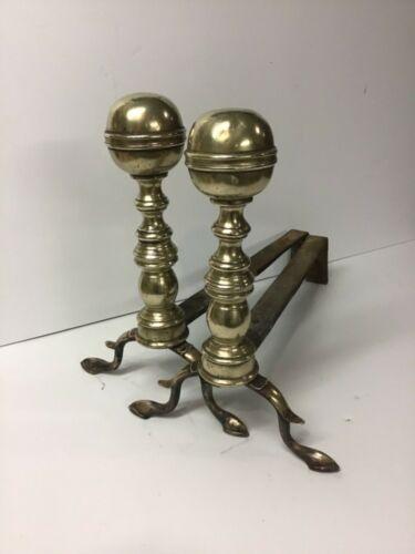 18th Century Cast & Soldered Brass Andirons